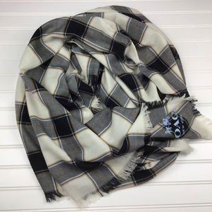 COACH NEW YORK Horse & Carriage Wool Plaid Scarf